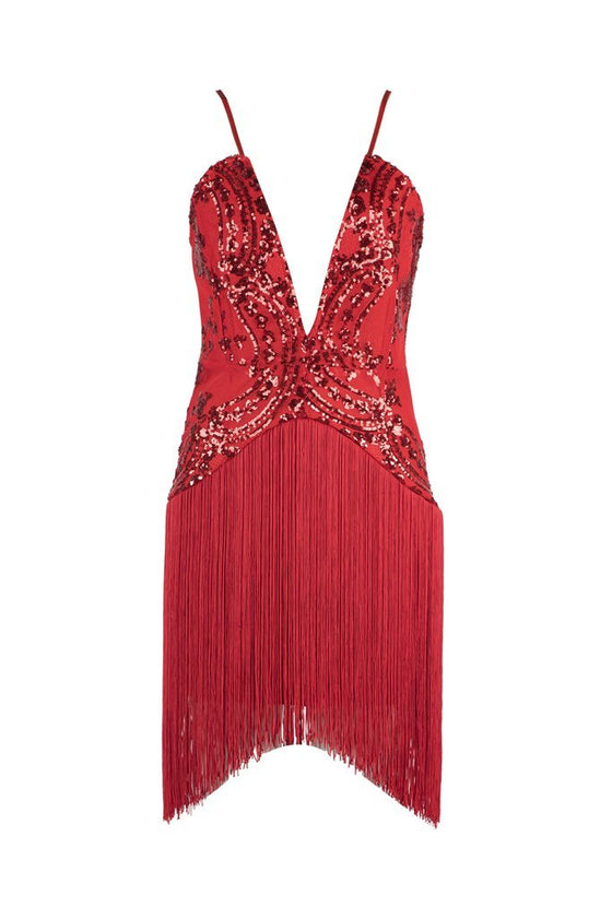 Honey Couture POPPY Red Sequin V Neck Tassel Mini Bandage DressHoney CoutureHoney Couture AfterPay OxiPay ZipPay