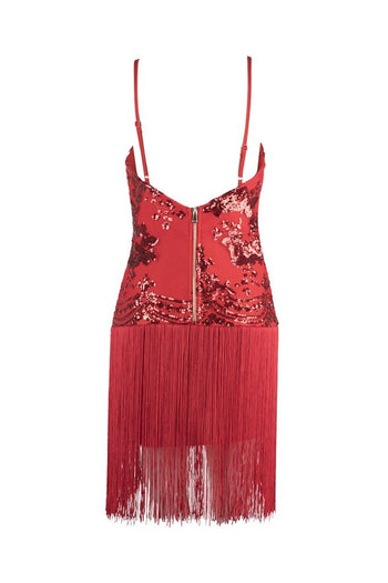 Honey Couture POPPY Red Sequin V Neck Tassel Mini Bandage Dress