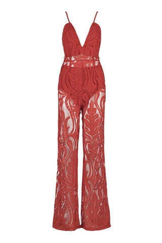 Honey Couture ORLA Red Lace V Neck Jumpsuit Honey Couture Honey Couture AfterPay ZipPay OxiPay Sezzle Free Shipping