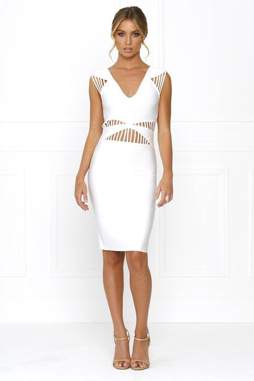 Honey Couture TATUM Designer White Cut Out Bandage Dress Australian Online Store Honey Couture AfterPay ZipPay