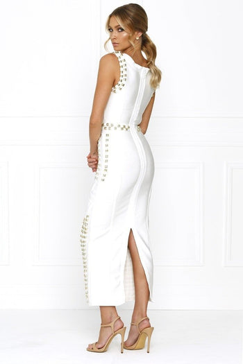 Honey Couture KIM White Gold Detail Maxi Bandage Dress Australian Online Store Honey Couture AfterPay ZipPay