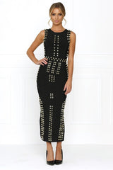 Honey Couture KIM Black Gold Detail Maxi Bandage Dress Australian Online Store Honey Couture AfterPay ZipPay
