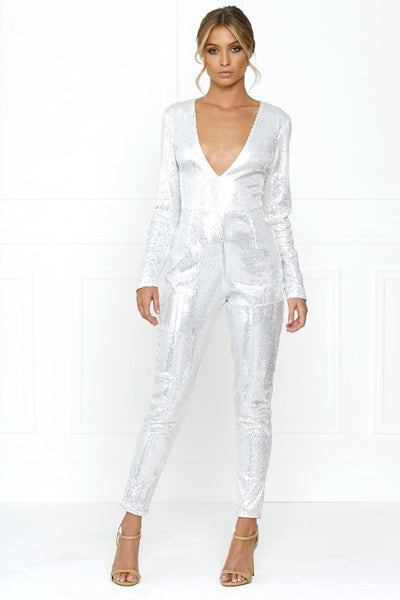 Honey Couture DANIELLA Silver Sequin Jumpsuit Australian Online Store Honey Couture AfterPay ZipPay