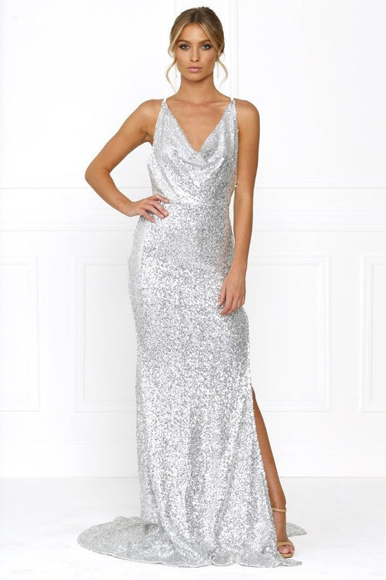Honey Couture BETHANY Silver Cowl Neckline Sequin Formal Gown DressHoney CoutureHoney Couture AfterPay OxiPay ZipPay