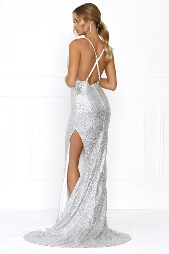 Honey Couture BETHANY Silver Cowl Neckline Sequin Formal Gown Dress Australian Online Store Honey Couture AfterPay ZipPay