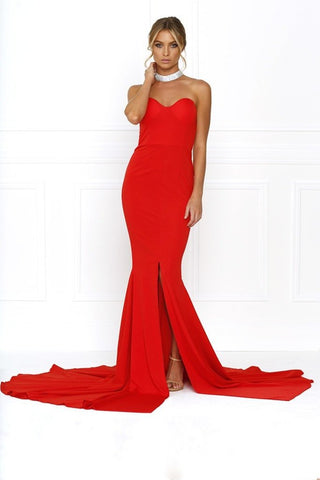 Honey Couture HANNAH Red Strapless Princess w Slit Evening Gown DressHoney CoutureHoney Couture AfterPay OxiPay ZipPay