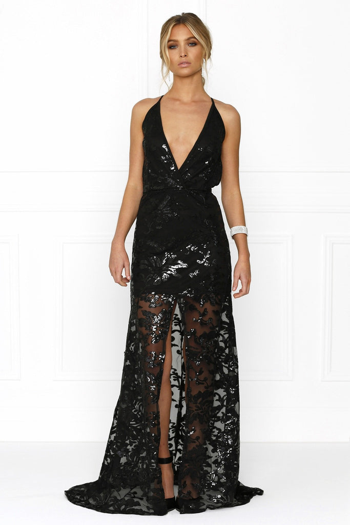 Honey Couture RENAE Black Sheer Lined Floral Print w Split Evening Gown Dress Australian Online Store Honey Couture AfterPay ZipPay