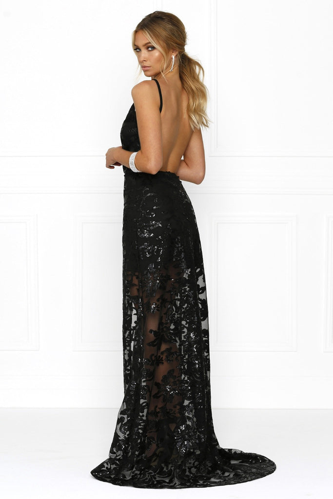 Honey Couture RENAE Black Sheer Lined Floral Print w Split Evening Gown Dress Australian Designer Label Online Store AfterPay ZipPay