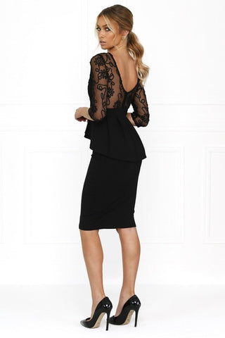 Honey Couture DAISY Black Lace Peplum Bodycon DressHoney CoutureHoney Couture AfterPay OxiPay ZipPay