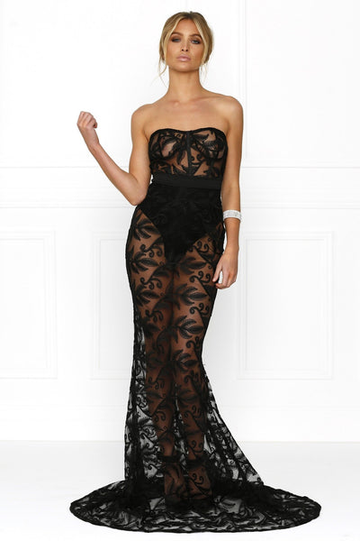 Honey Couture VANESSA Black Sheer Mesh Bustier Strapless Formal Gown Dress Australian Online Store Honey Couture AfterPay ZipPay
