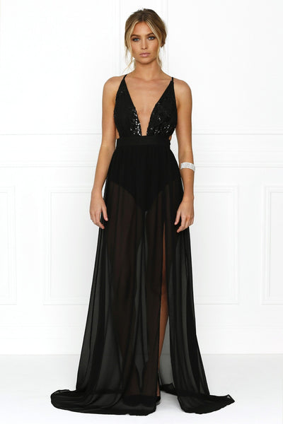 Honey Couture MARIYA Black Sequin Sheer Strappy Back Formal Gown Dress Australian Online Store Honey Couture AfterPay ZipPay