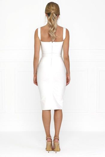 Honey Couture SONIA White Thick Strap w V Midi Bandage Dress Australian Online Store Honey Couture AfterPay ZipPay