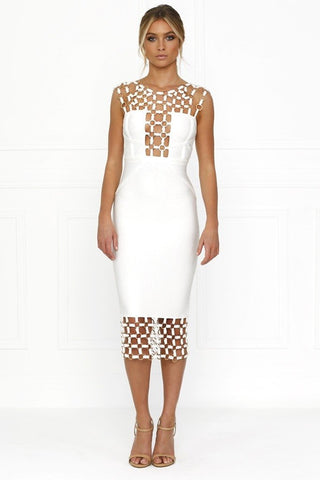 Honey Couture HAYLEE White Chain Bandage DressHoney CoutureHoney Couture AfterPay OxiPay ZipPay