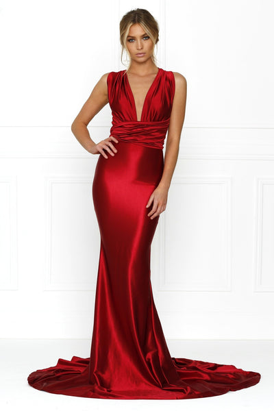 Honey Couture BLOSSUM Red Multi Tie Evening Gown Dress Australian Online Store Honey Couture AfterPay ZipPay