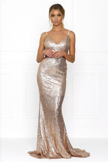 Honey Couture ELIZABETH Rose Gold Low Back Sequin Formal Gown Dress Australian Online Store Honey Couture AfterPay ZipPay