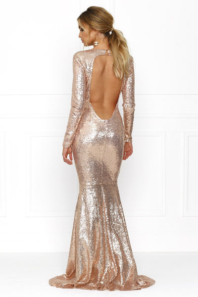 Honey Couture VIVA Rose Gold Sequin Long Sleeve Maxi Formal Gown Dress Australian Online Store Honey Couture AfterPay ZipPay