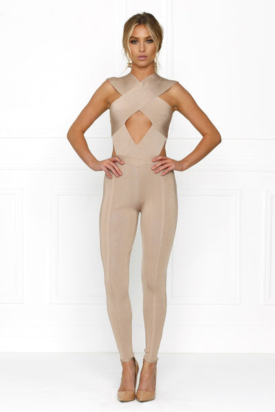 Honey Couture ZARA Nude Crossover Keyhole Bandage Jumpsuit Australian Online Store Honey Couture AfterPay ZipPay