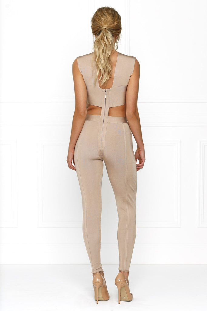 Honey Couture ZARA Nude Crossover Keyhole Bandage Jumpsuit Australian Designer Label Online Store AfterPay ZipPay