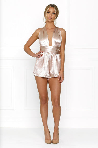 Honey Couture LORISA Dusty Pink Multi Tie Playsuit Australian Online Store Honey Couture AfterPay ZipPay