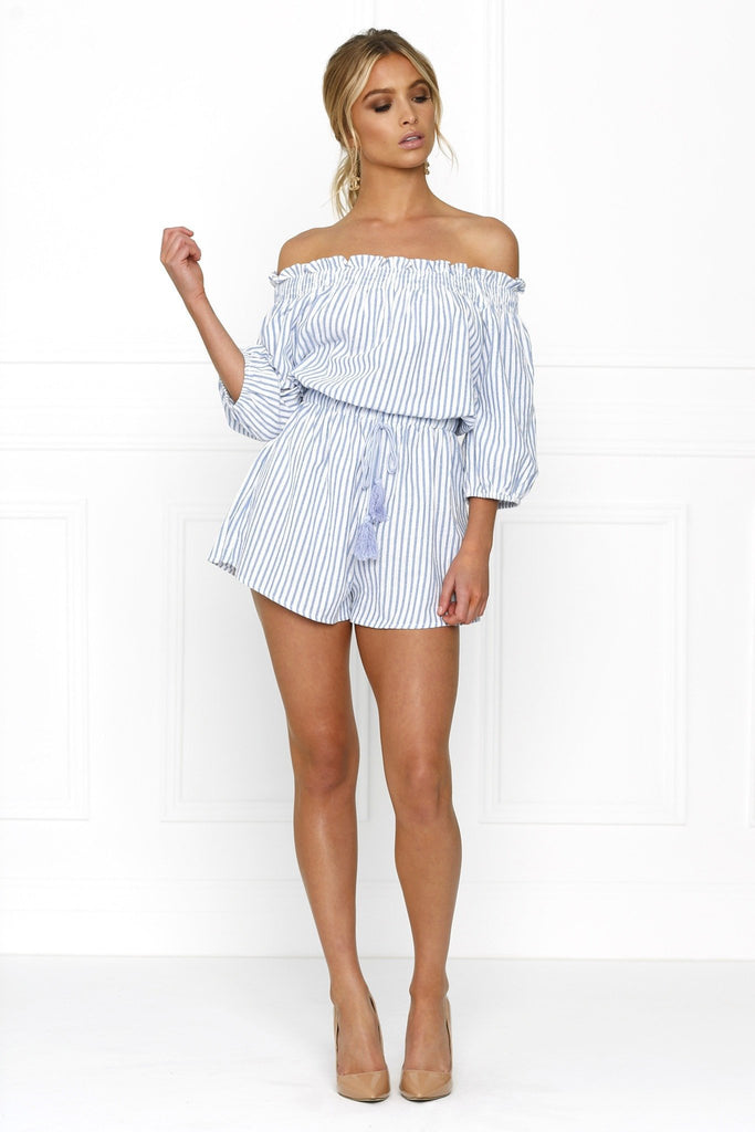 Honey Couture SALLY Off Shoulder Blue White Stripe Tassle Playsuit Australian Online Store Honey Couture AfterPay ZipPay