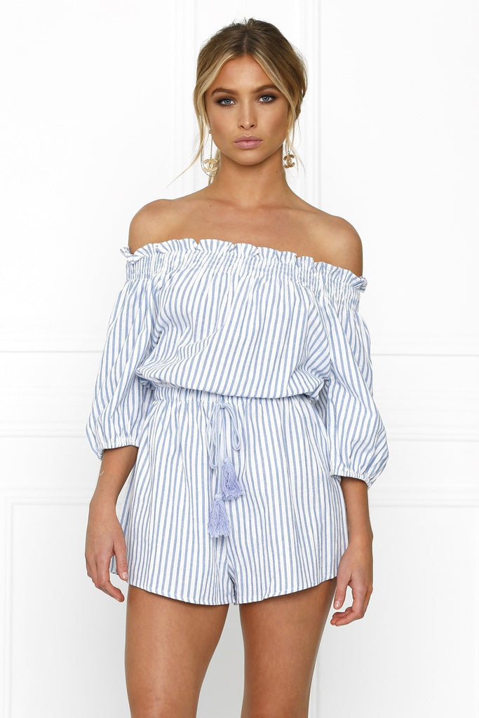 Honey Couture SALLY Off Shoulder Blue White Stripe Tassle Playsuit Australian Designer Label Online Store AfterPay ZipPay