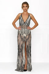 Honey Couture GWEN Nude Black Crystal Sequin Maxi Formal Gown Australian Online Store Honey Couture AfterPay ZipPay
