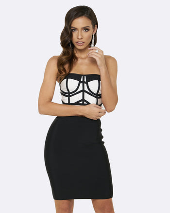 Honey Couture MADISON Black & White 2 Piece Bandage Set Australian Online Store Honey Couture AfterPay ZipPay