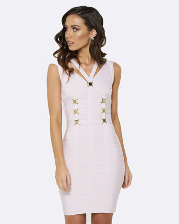 Honey Couture Lilac Purple NICOLE Gold Buckle Bandage Dress