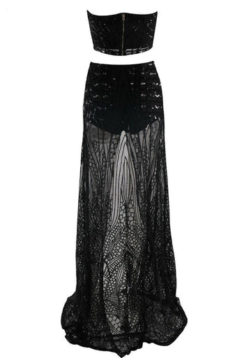 Honey Couture MIKA Black Sequin Crop & Maxi Skirt Set
