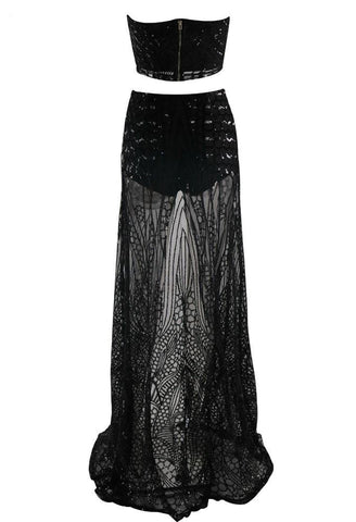 Honey Couture MIKA Black Sequin Crop & Maxi Skirt SetHoney CoutureHoney Couture AfterPay OxiPay ZipPay