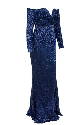 Honey Couture HEATHER Blue Sequin Off Shoulder Formal Gown AfterPay OxiPay ZipPay