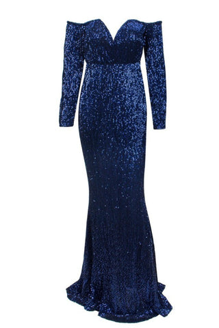 Honey Couture HEATHER Blue Sequin Off Shoulder Formal Gown Dress