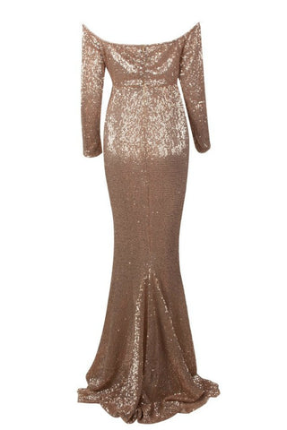 Honey Couture HEATHER Gold Sequin Off Shoulder Formal Gown DressHoney CoutureHoney Couture AfterPay OxiPay ZipPay