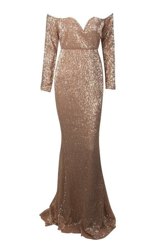 Honey Couture HEATHER Gold Sequin Off Shoulder Formal Gown Dress
