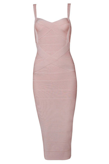 Honey Couture LEONIE Light Pink Midi Bandage Dress