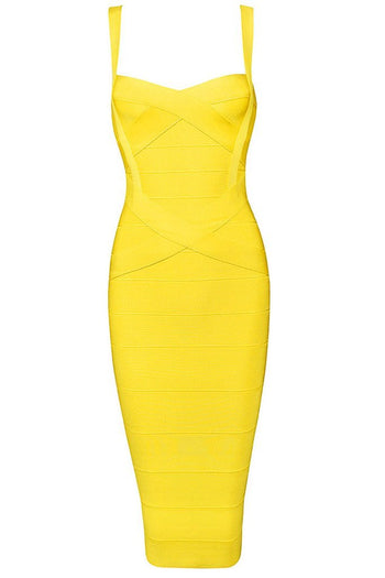 Honey Couture LEONIE Yellow Midi Bandage Dress