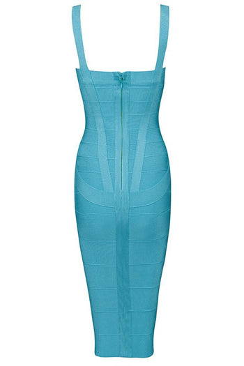 Honey Couture LEONIE Green/Blue Midi Bandage Dress