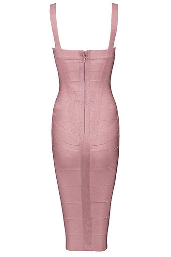 Honey Couture LEONIE Pink Midi Bandage Dress