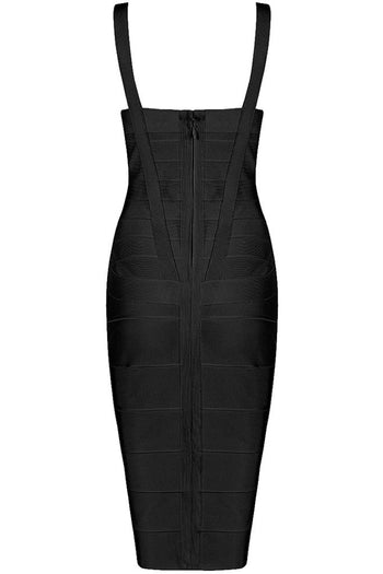 Honey Couture LEONIE Black Midi Bandage Dress