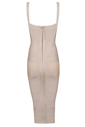 Honey Couture LEONIE Apricot Midi Bandage Dress