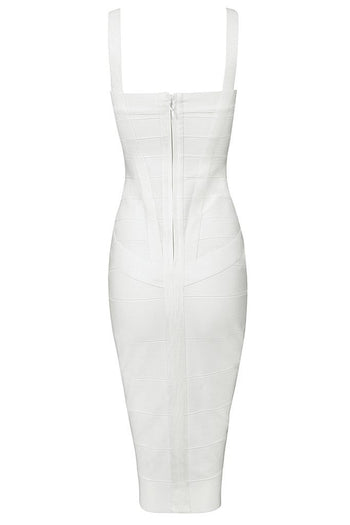 Honey Couture LEONIE White Midi Bandage Dress