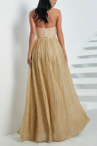 Honey Couture IVANA Gold Glitter Removable Skirt Formal Gown Dress