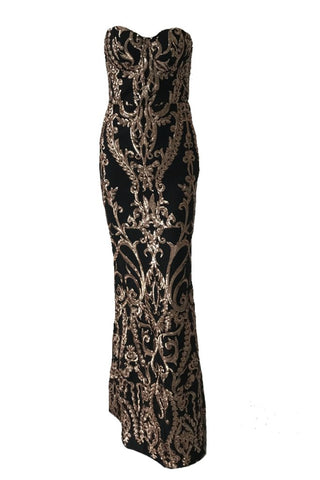 Honey Couture LA ROSA Rose Gold Strapless Sequin Evening Gown Dress