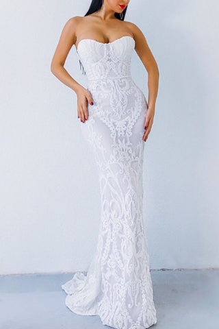 Honey Couture LA ROSA White Strapless Sequin Evening Gown Dress