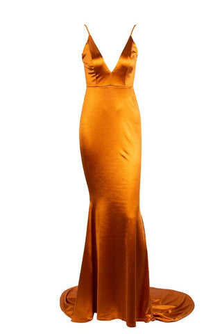 Honey Couture MILEE Burnt Orange Low Back Mermaid Evening Gown DressHoney CoutureHoney Couture AfterPay OxiPay ZipPay