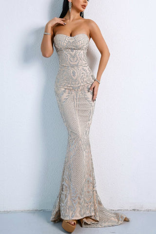 Honey Couture ALIZEY Silver Glitter Snakeskin Strapless Formal Gown Dress