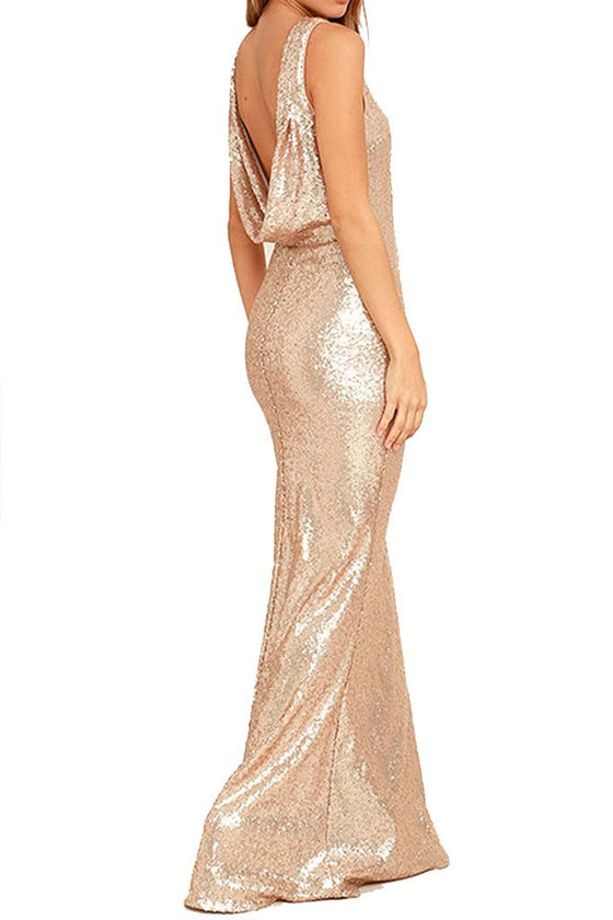 Honey Couture MAYBELINE Champagne Gold Sequin Drape Back Bridesmaid DressHoney CoutureHoney Couture AfterPay OxiPay ZipPay