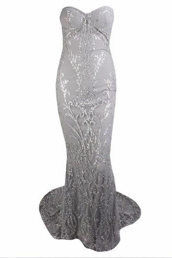 Honey Couture THALIA Silver & Grey Sequin Strapless Mermaid Formal Gown Dress