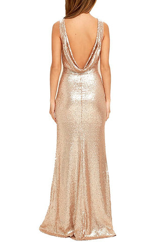 Honey Couture MAYBELINE Champagne Gold Sequin Drape Back Bridesmaid Dress Honey Couture Honey Couture AfterPay ZipPay OxiPay Sezzle Free Shipping