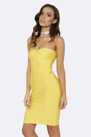 Honey Couture ESTELLE Yellow Strapless Bandage Dress